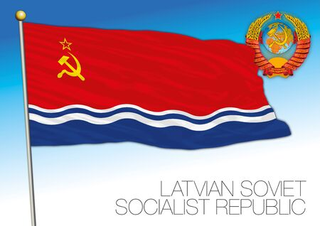 Latvian flag with Soviet Union coat of arms, vector illustration, Latvia