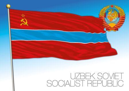 Uzbek historical flag with Soviet Union coat of arms, vector illustration, Uzbekistan Illusztráció