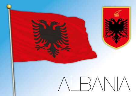 Albania official flag and coat of arms, vector illustration