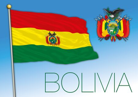 Bolivia official flag with coat of arms, vector illustration, south america