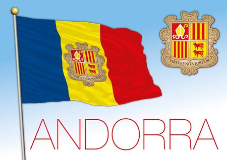 Andorra official flag and coat of arms, vector illustration, Europe Stock fotó - 133807693