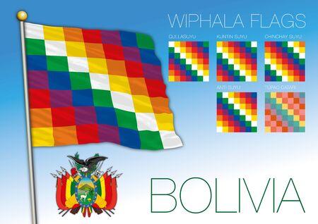 Wiphala official flags and Bolivian coat of arms, Bolivia, vector illustration Illusztráció