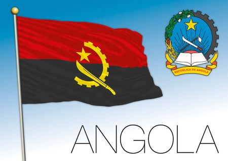 Angola Republic official flag and coat of arms, vector illustration Stock fotó - 133807695