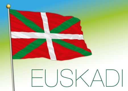 Basque country official flag and coat of arms, Spanish region Stock fotó - 133807698