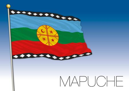 Mapuche regional flag, indigenous population of Chile, vector illustration Иллюстрация