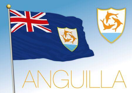Anguilla british overseas territory flag and coat of arms, vector illustration Illusztráció