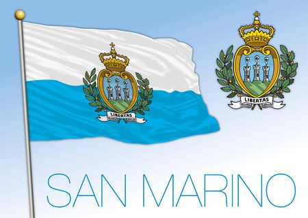 San Marino Republic, flag and coat of arms, vector illustration