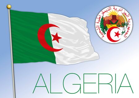 Algeria official flag with coat of arms, Africa, vector illustration Stock fotó - 133807701