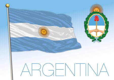 Argentina flag and coat of arms, South America, vector illustration Stock fotó - 133807702
