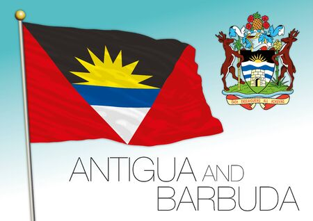 Antigua and Barbuda official flag and coat of arms, vector illustration