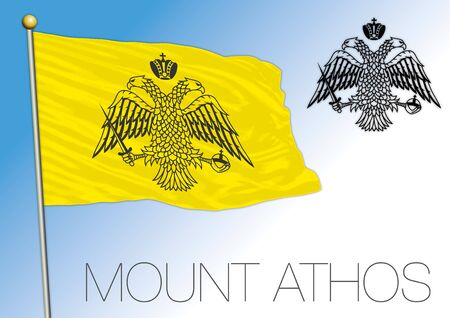 Mount Athos independent territory in Greece, flag and coat of arms, vector illustration