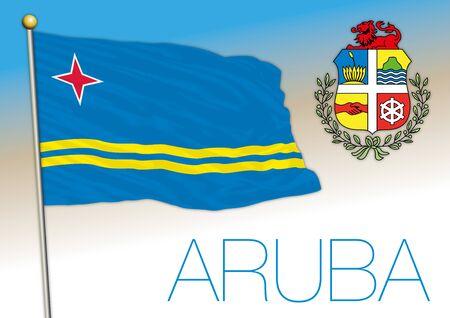 Aruba island national flag and coat of arms, vector illustration