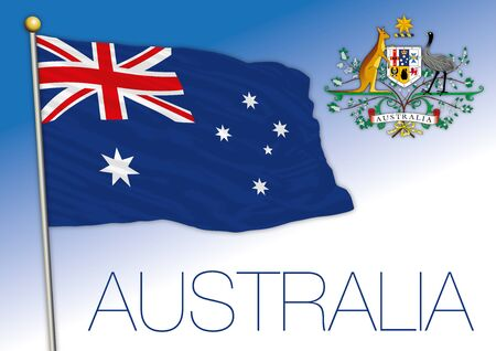 Australia official national flag and coat of arms, vector illustration