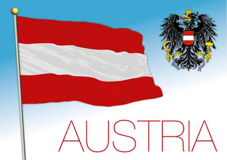 Austria official national flag and coat of arms, vector illustration