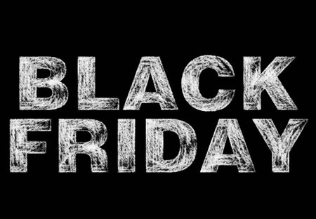 Black Friday, advertising writing with white chalk on a black chalkboard Stock fotó