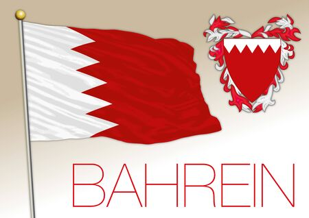 Bahrain official national flag and coat of arms. vector illustration