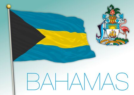 Bahamas national flag and coat of arms, vector illustration Illusztráció