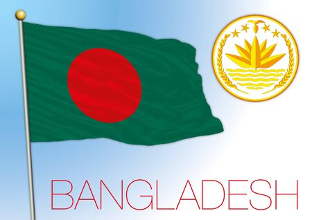 Bangladesh national flag and coat of arms, vector illustration, asiatic country