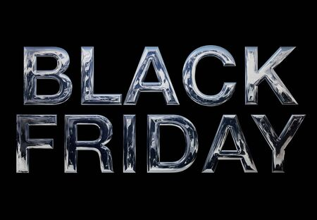 Black Friday, metal advertising writing on a black background