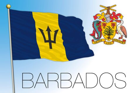 Barbados official national flag and coat of arms, vector illustration, caribbean