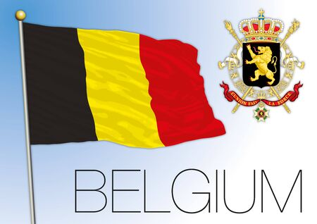 Belgium official national flag and coat of arms, vector illustration, european union Ilustração