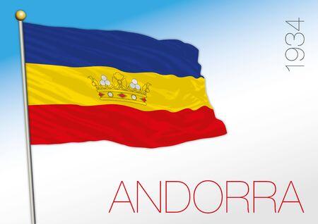 Andorra historical flag, 1934, european country