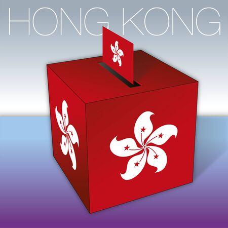 Hong Kong, elections, ballot box with red national flag, Hong Kong, China, 2019