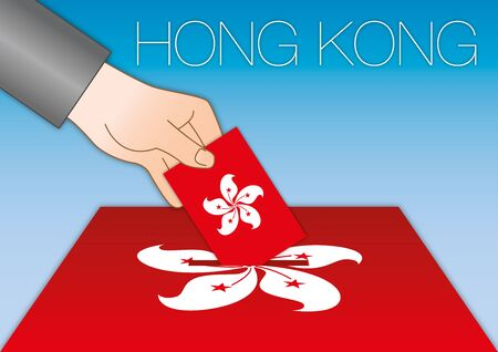 Hong Kong, elections, hand in a ballot box with red national flag and map, Hong Kong, China