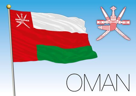Oman official national flag and coat of arms, vector illustration