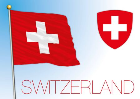 Switzerland official national flag and coat of arms, vector illustration, European country