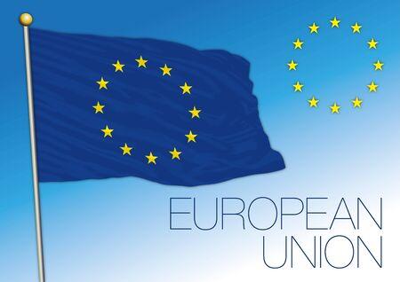 European Union official flag and coat of arms, vector illustration, Europe Illusztráció