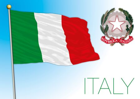 Italy national flag and coat of arms, vector illustration, European Union