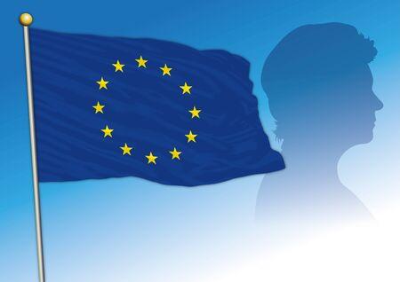 Ursula von der Leyen silhouette with EU flag, new president of the European Commission, Germany Illusztráció