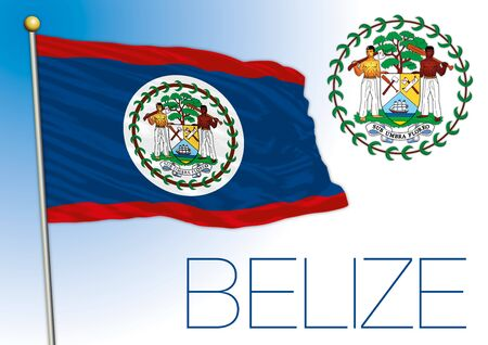 Belize official national flag and coat of arms, vector illustration, central america