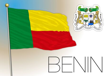 Benin national flag and coat of arms, african country, vector illustration