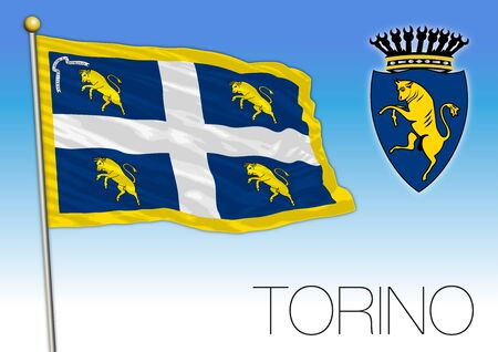 Turin - Turin city official flag and coat of arms, Piedmont, Italy, vector illustration