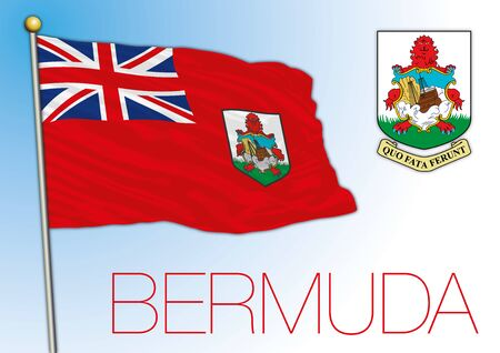 Bermuda islands central national flag and coat of arms, vector illustration