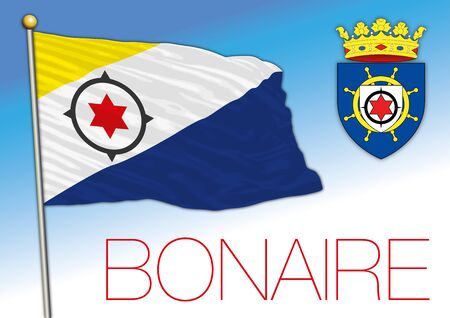 Bonaire island official flag and coat of arms, Caribbean country, vector illustration
