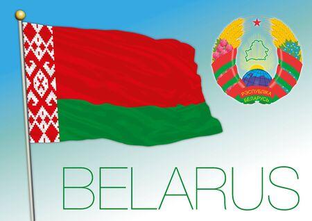 Belarus coat of arms on the national flag, vector illustration