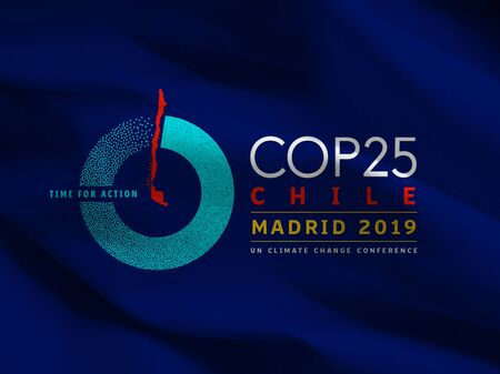 COP25 Climate Change Conference flag, Chile and Spain, 2019