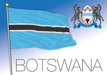 Botswana official national flag and coat of arms, african country, vector illustration