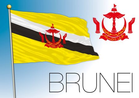 Brunei sultanate official flag and coat of arms, vector illustration