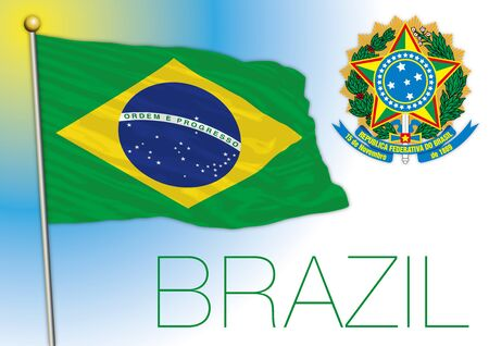 Brazil official flag with coat of arms, south america, vector illustration
