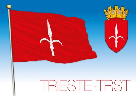 Trieste city flag and coat of arms, vector illustration Illusztráció