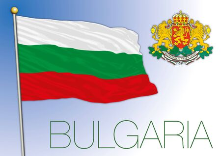 Bulgaria flag and coat of arms, European Union, vector illustration