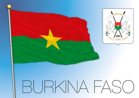 Burkina Faso flag and coat of arms - African country, vector illustration