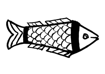 Stylized drawing of a sardine fish on a white background, vector illustration