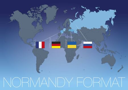 Normandy Format international conference map with flags, vector illustration