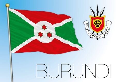 Burundi national flag and coat of arms, african country, vector illustration