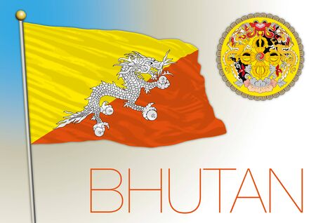 Bhutan national flag and coat of arms, vector illustration, asiatic country
